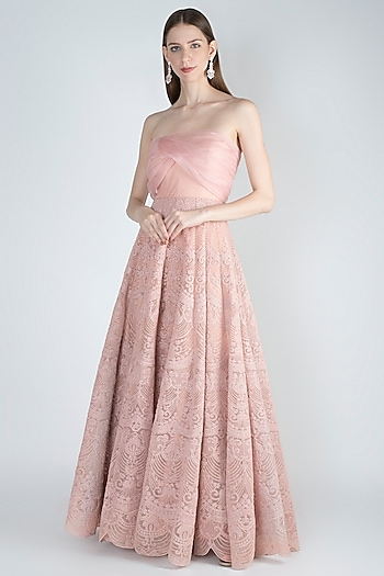 Blush Pink Embroidered Gown by Jade by Monica and Karishma