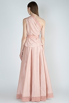 Peach Embellished Top With Skirt & Belt by Jade by Monica and Karishma