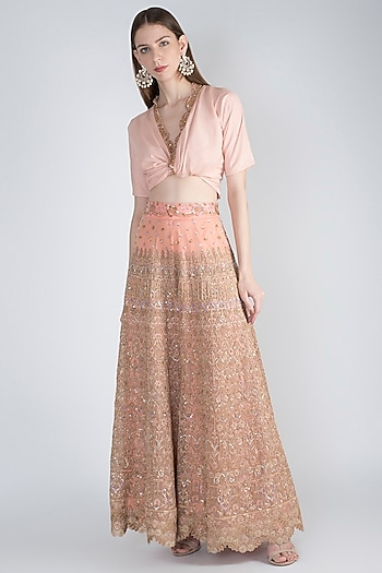 Rose Pink Embellished Top With Pants by Jade by Monica and Karishma