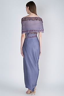 Aegean Blue Embroidered Top With Dhoti Skirt by Jade by Monica and Karishma