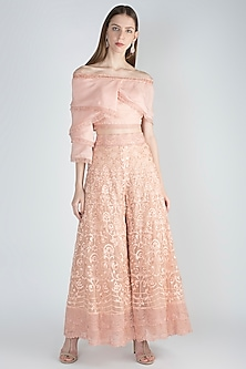 Blush Pink Top With Embroidered Palazzo Pants by Jade by Monica and Karishma