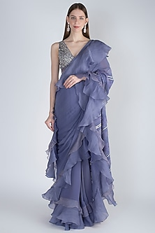 Aegean Blue Embroidered Ruffled Saree Set by Jade by Monica and Karishma