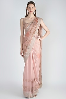 Peach Embellished Saree Set by Jade by Monica and Karishma