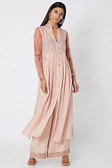 Blush Pink Embroidered & Printed Kurta With Pants by Jade by Monica and Karishma