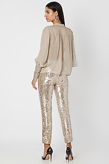 Silver Shirt With Sequined Pants by Jade by Monica and Karishma