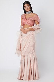 Blush Pink Embroidered & Printed Draped Saree Set by Jade by Monica and Karishma