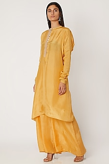 Turmeric Yellow Embroidered Kurta With Pants by Jade by Monica and Karishma