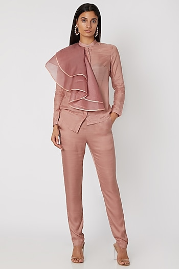 Peach Embroidered Shirt With Pants by Jade by Monica and Karishma