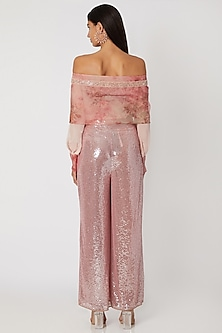 Blush Pink Printed Top With Sequined Pants by Jade by Monica and Karishma