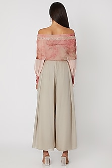 Blush Pink Printed Top With Grey Pleated Pants by Jade by Monica and Karishma