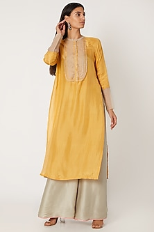 Turmeric Yellow Embroidered Kurta With Grey Pants by Jade by Monica and Karishma