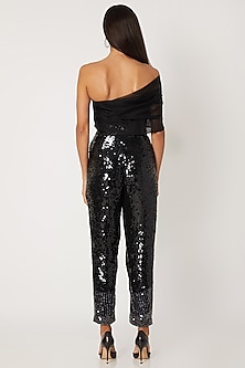 Black Sequins Embroidered Jumpsuit by Jade by Monica and Karishma