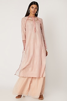 Peach Embroidered & Printed Kurta With Pants by Jade by Monica and Karishma