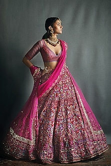Fuchsia Pink Lehenga Set by Jade by Monica and Karishma