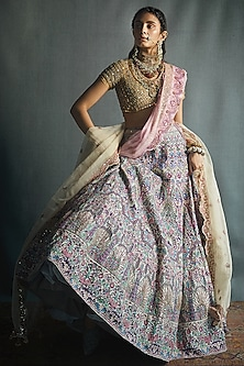 Multi Colored Lehenga Set by Jade by Monica and Karishma