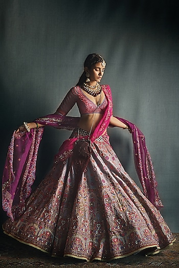 Fuchsia Pink & Purple Lehenga Set by Jade by Monica and Karishma