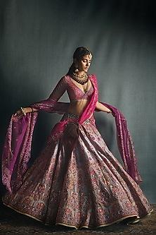Fuchsia Pink & Purple Lehenga Set by Jade by Monica and Karishma