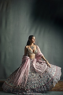 Lilac & Dusty Rose Lehenga Set by Jade by Monica and Karishma