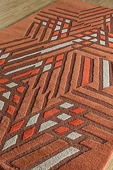 Red & Orange Woolen Rug by Jaipur Rugs