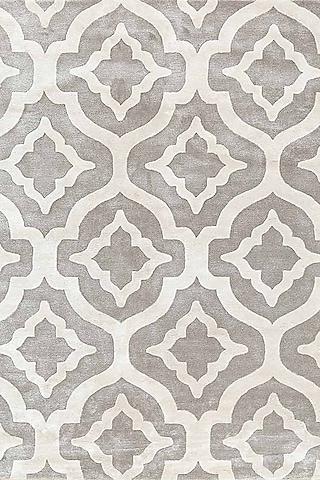 White Geometric Printed Rug by Jaipur Rugs