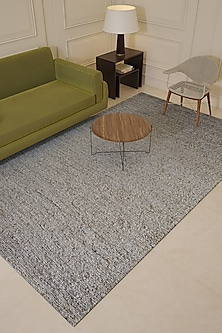 Soft Grey Solid Jute Rug by Jaipur Rugs