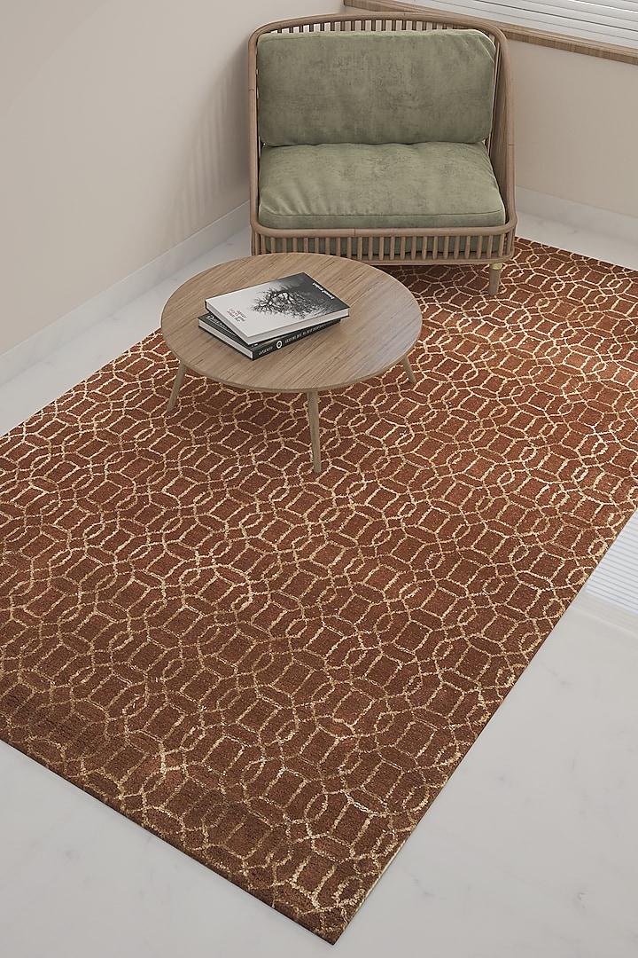 Rust Wool & Viscose Rug by Jaipur Rugs