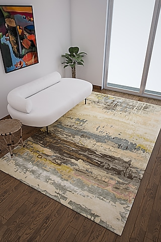 Antique White Wool & Viscose Abstract Rug by Jaipur Rugs