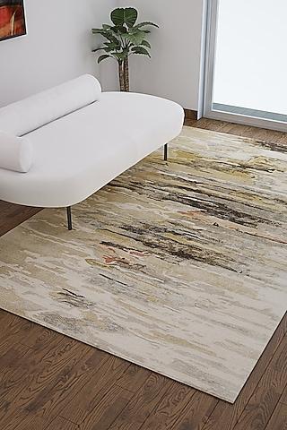 Dark Ivory Wool & Viscose Abstract Rug by Jaipur Rugs