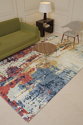 Antique White Wool & Viscose Hand-Tufted Abstract Rug by Jaipur Rugs