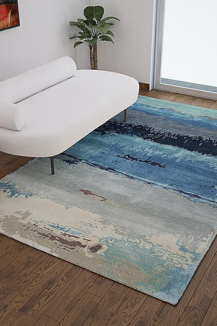 Ocean Blue Wool & Viscose Abstract Rug by Jaipur Rugs