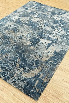 Grey Abstract Wool & Silk Hand-Knotted Rug by Jaipur Rugs