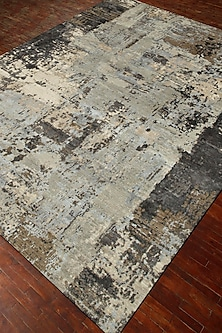 Frost Grey Wool & Silk Modern Abstract Rug by Jaipur Rugs