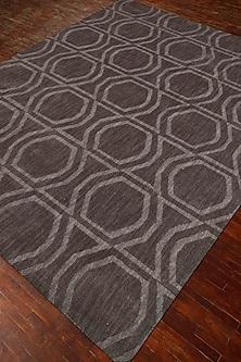 Grey & Black 100% Wool Geometric Rug by Jaipur Rugs
