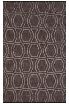 Grey & Black 100% Wool Geometric Rug by Jaipur Rugs