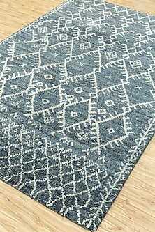 Blue 100% Handspun Wool Morrocan Rug by Jaipur Rugs