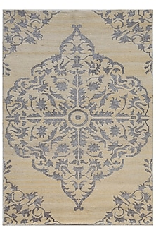 Beige & Brown Hand-Knotted Damask Rug by Jaipur Rugs