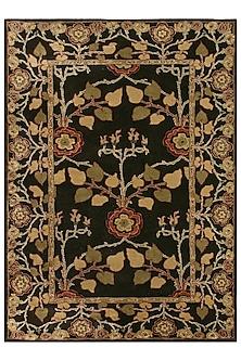 Grey & Black 100% Wool Floral Rug by Jaipur Rugs