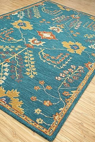 Blue 100% Wool Oriental Kilan Rug by Jaipur Rugs