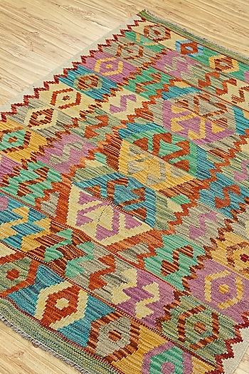 Red & Orange Rug In 100% Wool by Jaipur Rugs