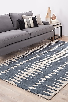 Blue Oriental Woolen Rug by Jaipur Rugs