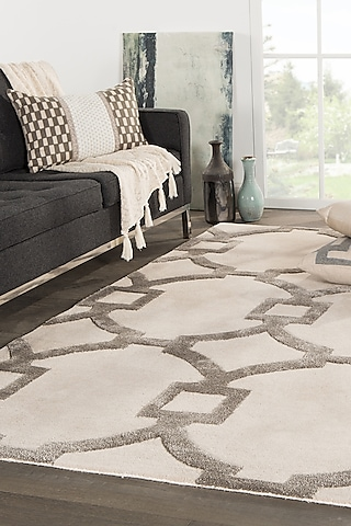 Ivory Wool & Viscose Rug by Jaipur Rugs