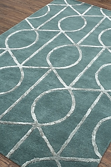 Geometric Patterned Rug In Blue by Jaipur Rugs