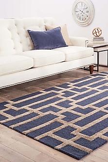 Woolen Rug In Blue & Gold by Jaipur Rugs