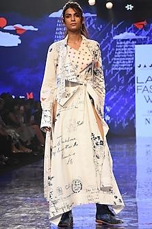 White Printed Draped Kurta With Pants by Jajaabor