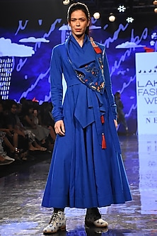 Cobalt Blue Embroidered Angrakha With Belt by Jajaabor
