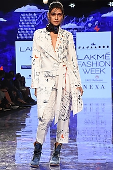 White Printed Jacket With Pants by Jajaabor-LAKMÉ FASHION WEEK S/R '20
