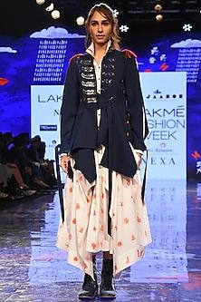 White Embroidered Angrakha Jacket With Indigo Blue Printed Jacket by Jajaabor
