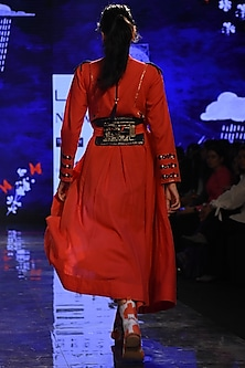 Red Embroidered Angrakha Kurta With Pants by Jajaabor
