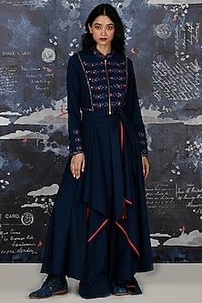 Indigo Blue Embroidered Kurta With Pants by Jajaabor