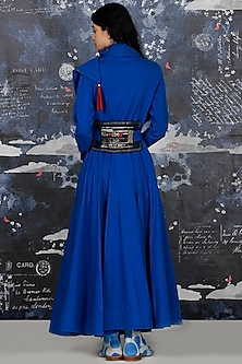 Cobalt Blue Embroidered Draped Angrakha With Belt by Jajaabor